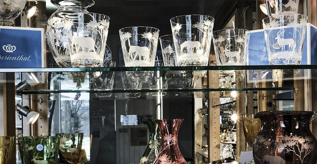 Wertvollstes Glas im Verkaufsraum Theresienthal